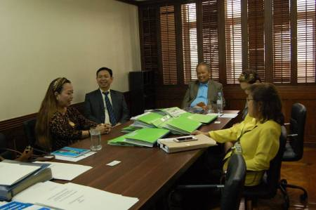 PCNC evaluators interview FLP Board of Trustees, namely, CJ Artemio Panganiban, President Evelyn Dumdum and Atty. Joel Gregorio.