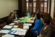 PCNC evaluators interview FLP Board of Trustees and officers.