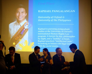 Awarding of the First Place in the Dissertation Writing Contest, Raphael Pangalangan