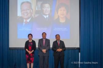 Ms. Elizabeth Alba of Tan Yan Kee Foundation, Acting Chief Justice Antonio T. Carpio, and retired Chief Justice Artemio V. Panganiban