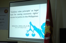 """Polytechnic University of the Philippines College of Law Dean Gemy Lito L. Festin's lecture titled """"'Tutelary Rules Principle' as Legal Tool for Easing Economic Rights' Access to Justice in the Philippines"""""""