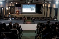 University of San Carlos Law Dean Joan Sarausos-Largo delivering her lecture at the University of San Carlos Buttenbruch Hall