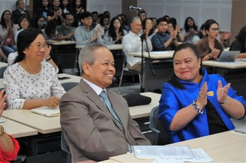 Retired Chief Justice Artemio V. Panganiban and UP College of Law Professor Elizabeth Aguiling-Pangalangan