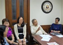 FLP Executive Director Ms. Susan Gavino, TYKF Executives Ms. Elizabeth Alba and Ms. Valerie Tan, Retired Chief Justice Artemio Panganiban, and FLP Trustee Atty. Tanya Karina Lat