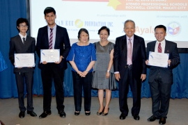 Mrs. Panganiban, Ayala Land Gen. Counsel June Vee Navarro, & Retired CJ Panganiban with Contest Finalists