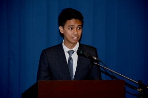 2018-2019 Dissertation Writing Contest first place winner Mr. Josiah Quising delivering his message