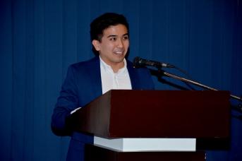 FLP Scholar and 2018 Bar Exam Topnotcher No. 1 Atty. Sean James Borja delivering his message
